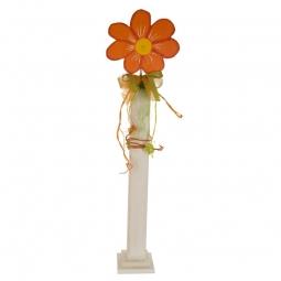 Deko Blume auf Säule, orange