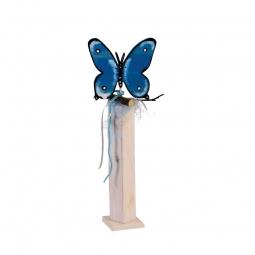 Dekosäule weiß, Schmetterling blau