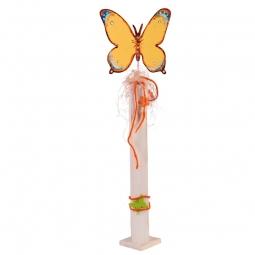 Dekosäule weiß, Schmetterling gelb