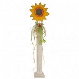 Deko Blume auf Säule, gelb