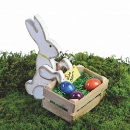Hase mit Osternest, Holz